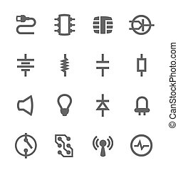 Electronic components icons - Simple set of electronic...