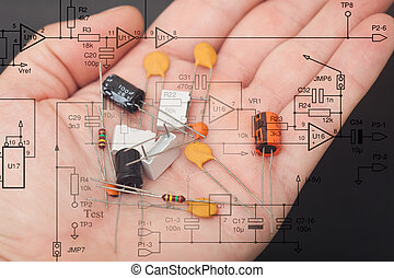 Electronic components in one hand