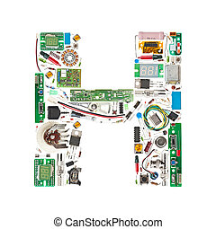 Letter 'H' made of electronic components isolated in white background