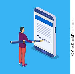 Electronic contract or digital signature concept.