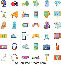Electronic device icons set, cartoon style