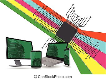electronic device - illustration of technology with layout...