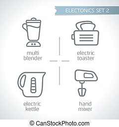 Electronic device outline modern icon vector set with White Background, multi blender, electric toaster, electric kettle, hand mixer