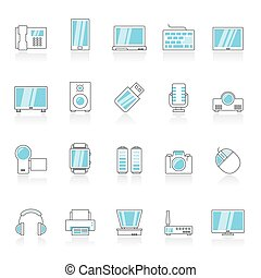 Electronic devices and technology icons