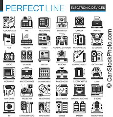 Electronic devices classic black mini concept symbols. Vector gadgets modern icon pictogram illustrations set.