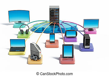 Electronic devices connected to the cloud network. 3D illustration