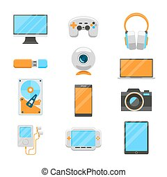Electronic devices flat icons
