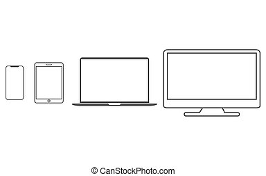 Electronic devices icon set. Vector illustration, flat design.