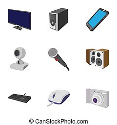 Electronic devices icons set, cartoon style