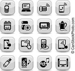 electronic devices icons set