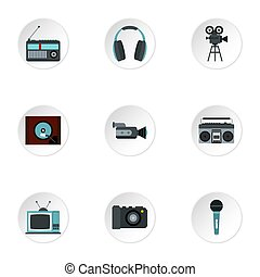 Electronic devices icons set, flat style