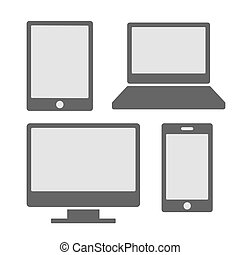 Electronic Devices Icons With White Blank Screens. Smartphones, Tablets, Computer Monitor, Laptop. Vector