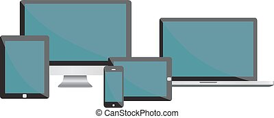 Electronic devices isolated on white background - desktop computer, laptop, tablet and phones.