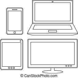 Electronic devices. Laptop, tablet, smartphone and monitor. Outline vector design template