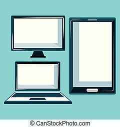 electronic devices set icons