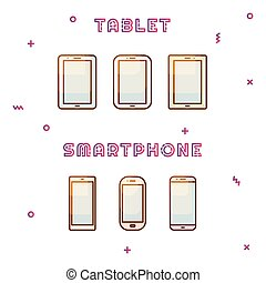 Electronic devices set vector gradient color icon.