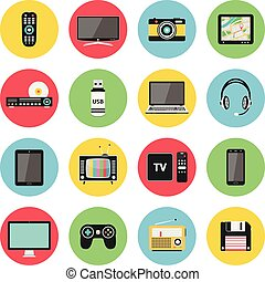 Electronic devices, technology gadgets icons