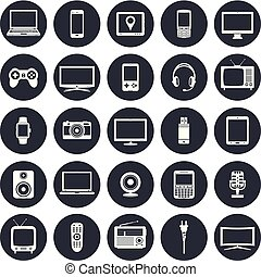 Electronic devices, technology gadgets icons set
