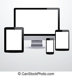 Vector illustration of set of modern electronic devices with blank white screens. Eps10.