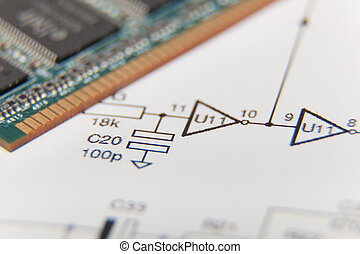 Electronic diagram with computer memory