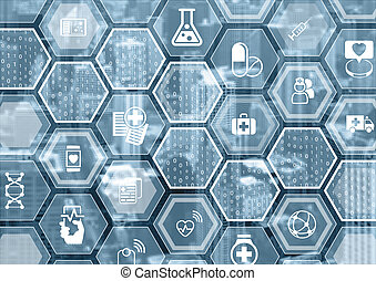 Electronic e-healthcare blue and grey background with...