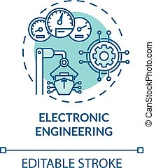 Electronic engineering turquoise concept icon. Ship devices maintenance. Vessel machinery fix idea thin line illustration. Vector isolated outline RGB color drawing. Editable stroke