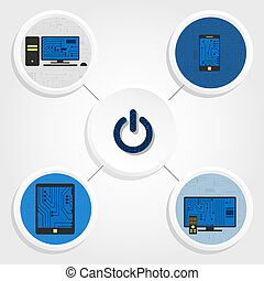 Electronic equipments and button - Diagram of various...
