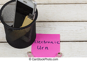 Electronic equipments in trash can, Electronic waste concept