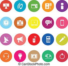 Electronic flat icons on white background