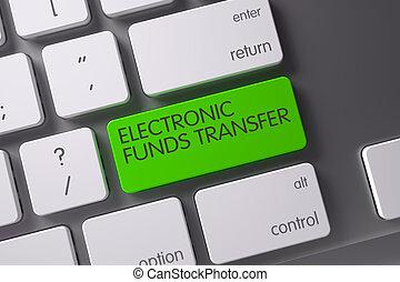 Electronic Funds Transfer Concept: Modern Laptop Keyboard with Electronic Funds Transfer, Selected Focus on Green Enter Key. 3D Render.