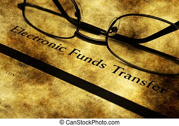 Electronic funds transfer grunge concept