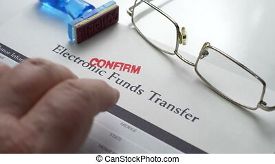 Electronic funds transfer stamp confirm
