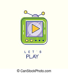 Electronic gadget logo. Game console icon in linear style with green and purple fill. Play device. Digital technology concept. Vector design for mobile app or web site