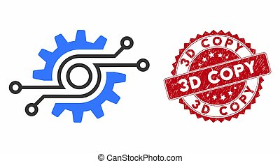 Electronic Gear Icon with Grunge 3D Copy Stamp