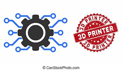 Electronic Gearwheel Icon with Grunge 3D Printer Stamp