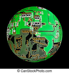 electronic board sphere, cybernetic globe, digital hardware, schematic diagram, computer motherboard pcb, printed circuit isolated on black