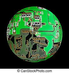 electronic globe - electronic board sphere, cybernetic...