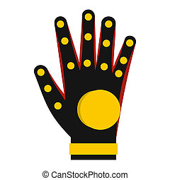Electronic glove icon, flat style