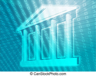 Electronic government, e-government illustration with ...