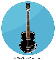 Electronic guitar icon flat