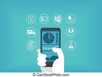 Electronic healthcare (e-health) concept with hand holding...