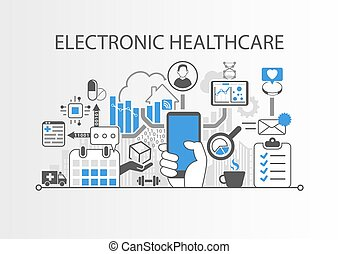 Electronic healthcare or e-health background vector...