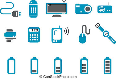 Electronic Icon Set - Vector icons pack - Blue Series,...
