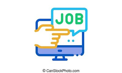 electronic job search Icon Animation. color electronic job search animated icon on white background