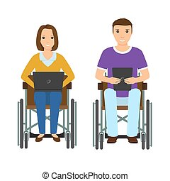 Electronic learning disability people man and woman in wheelchair. Invalid male and female with laptop and ebook