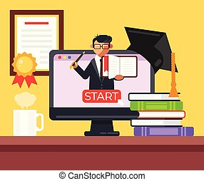 Electronic library online e learning education concept.  Laptop with book and graduation hat online translation video tutorial. Vector flat cartoon graphic design isolated illustration