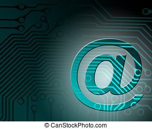 Electronic mail - E-mail symbol on circuit board pattern