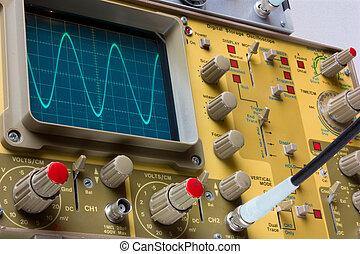 electronic measure - analogue oscilloscope whit sinusoidal wave