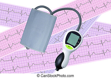 Electronic medical tonometer on heart analysis, electrocardiogram graph (ECG)