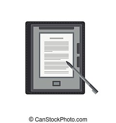 Electronic mobile book with stylus isolated icon. - Tablet...
